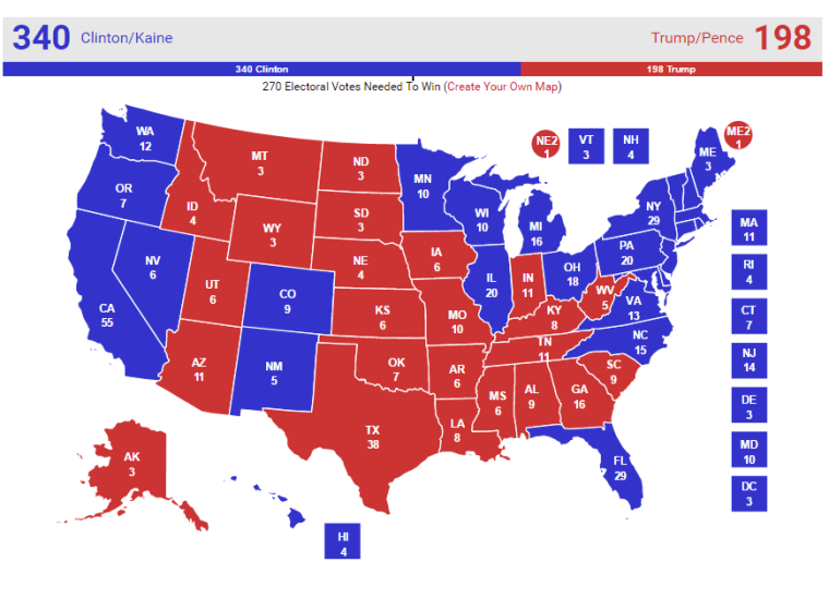 Real Clear Politics Map for 2016 Election