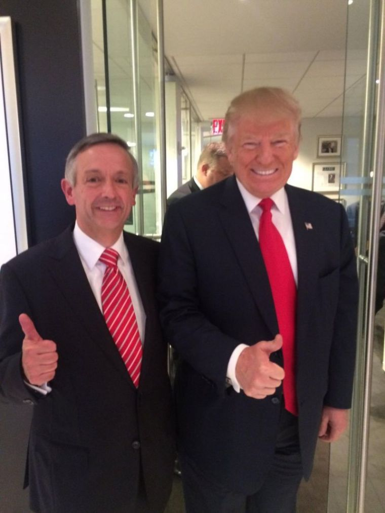 Robert Jeffress (L) and Donald Trump