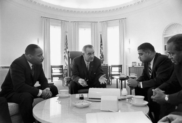 President Johnson meets with MLK, Young and Farmer