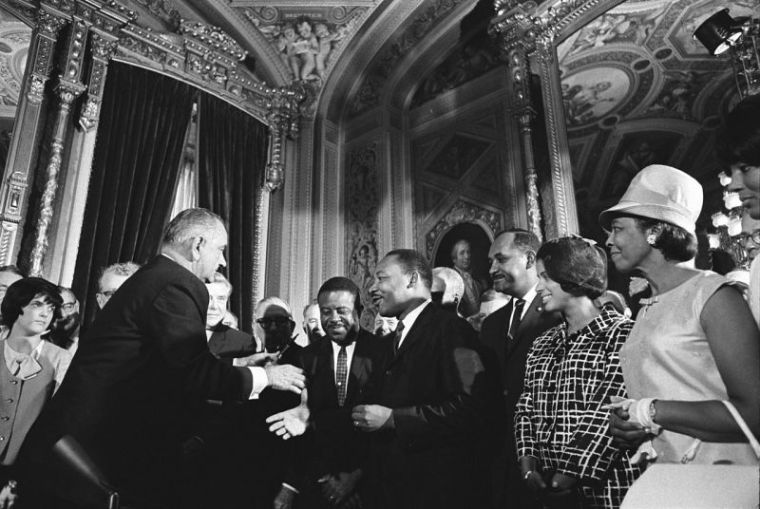 President Johnson and MLK at the signing of the Voting Rights Act