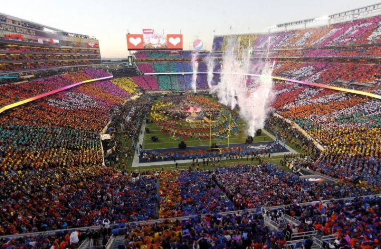 Overview of half-time show during the NFL's Super Bowl 50 football game between the Carolina Panthers and the Denver Broncos in Santa Clara, California February 7, 2016