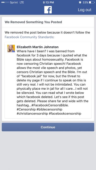 Elizabeth Johnston Facebook Screengrab 3