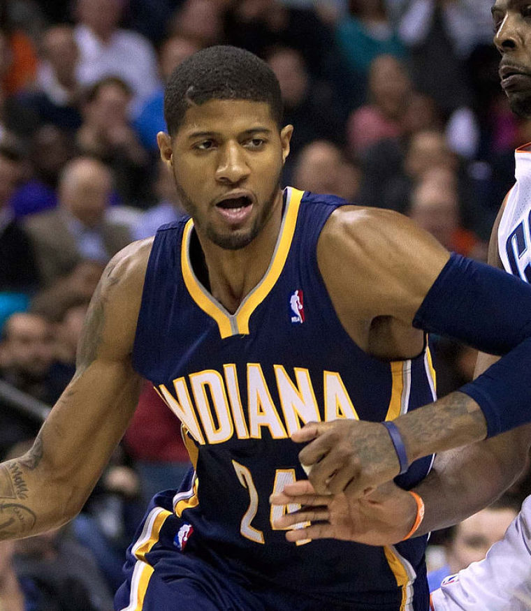 A photo of Paul George as a basketball player for the Indiana Pacers.