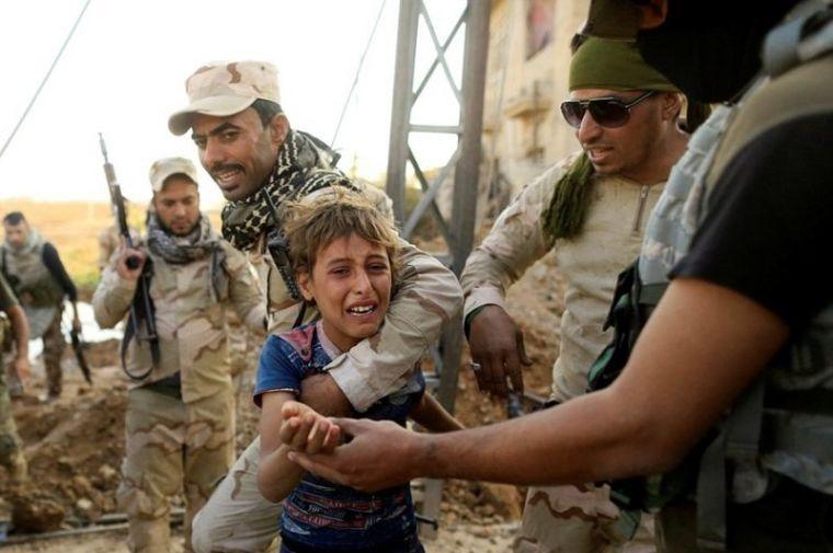 Crying Iraqi boy