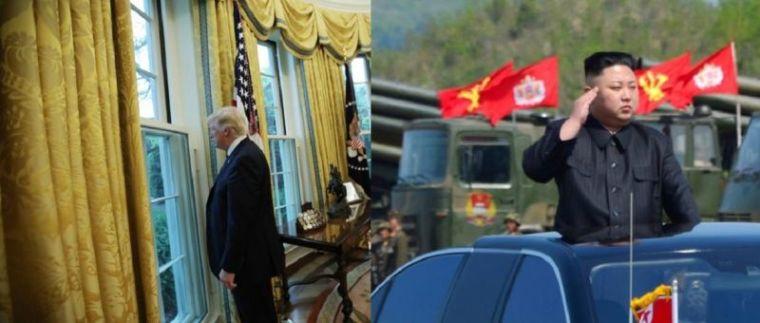 Trump (L), Kim Jong Un (R)
