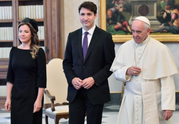 Pope and Trudeau