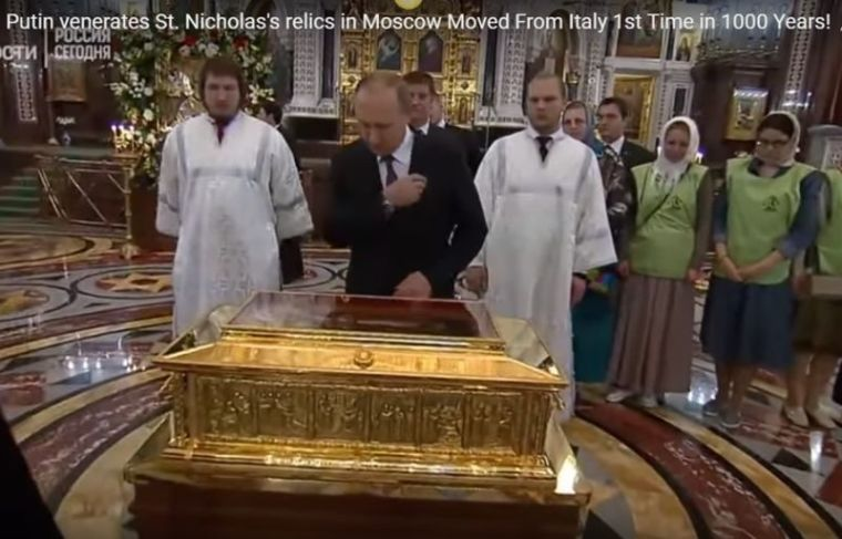 Putin venerates St. Nicholas' relic