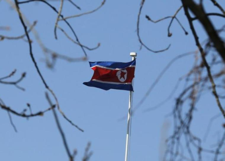 North Korean Flag Over China Embassy