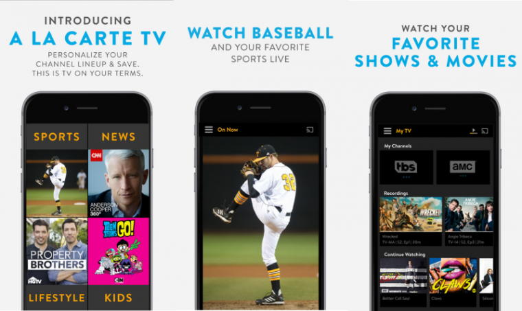 Screenshots of the Sling TV app published in Apples iTunes website.