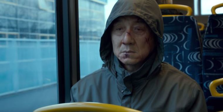 A screenshot from the official trailer of the action thriller film 'The Foreigner.'