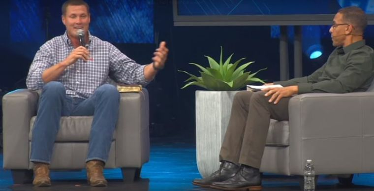 Philip Rivers with Rock Church's Pastor Miles McPherson