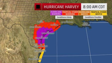 Map Of Texas Storms.Hurricane Harvey Tracker Projected Path Map Devastating Storm