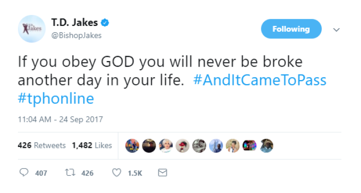If You Obey God, You Will Never Be Broke,' TD Jakes Says