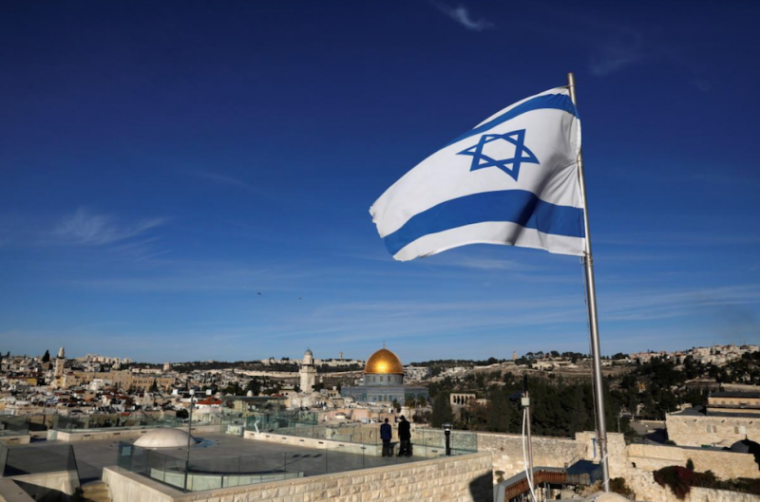 Dome of the Rock and Jerusalem's Old City, israel, flag