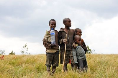 children, africa, water bottle