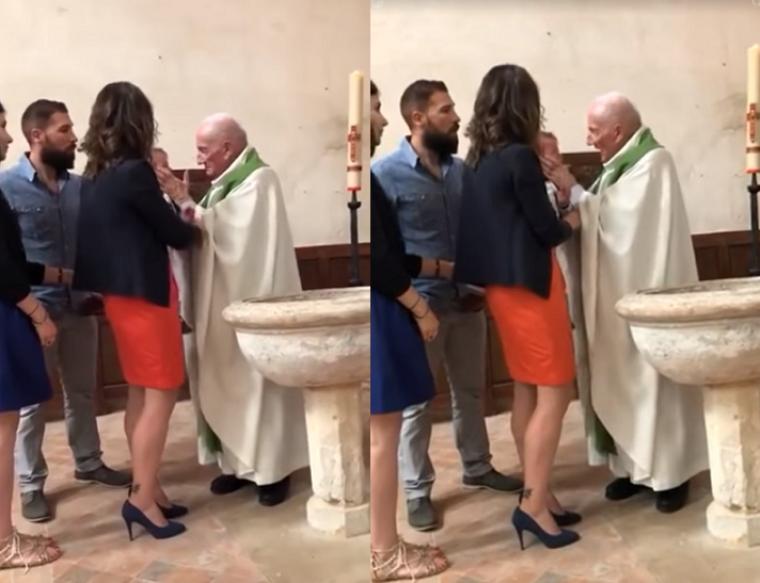 French priest, slap