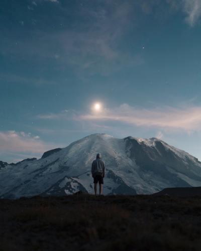 mountain, person