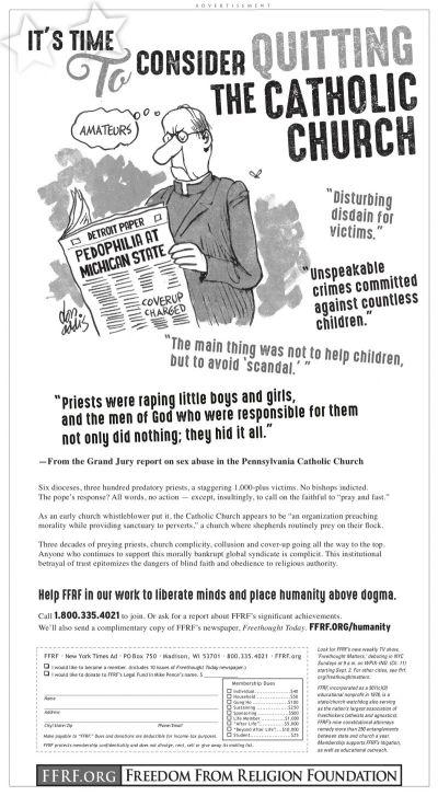 atheist ffrf ad quit catholic church