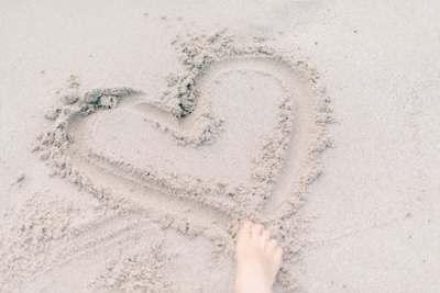 heart, love, sand