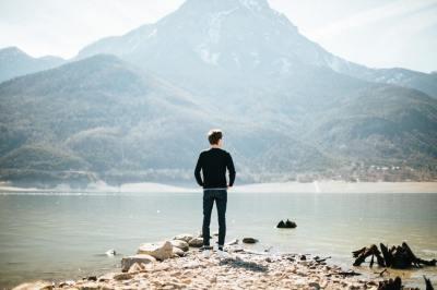 person, man, lake