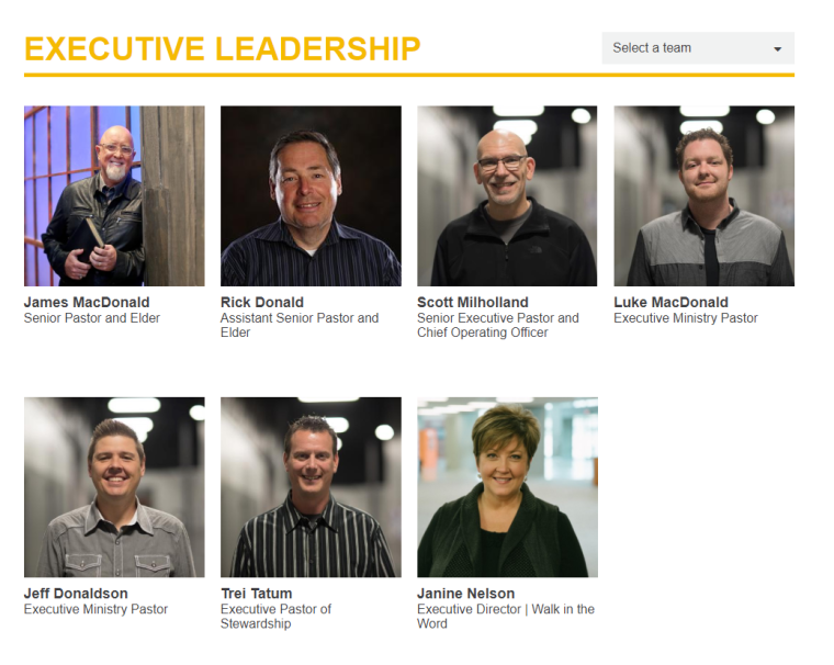Harvest Bible Chapel, executive leadership