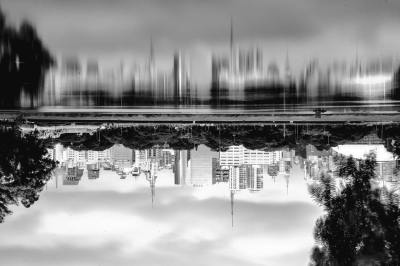 upside down, reflection city