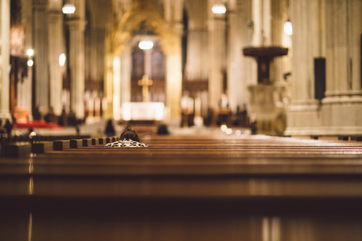 church, pew, worshiper