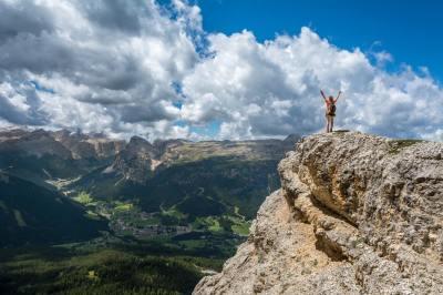 person, victory, landscape, mountain