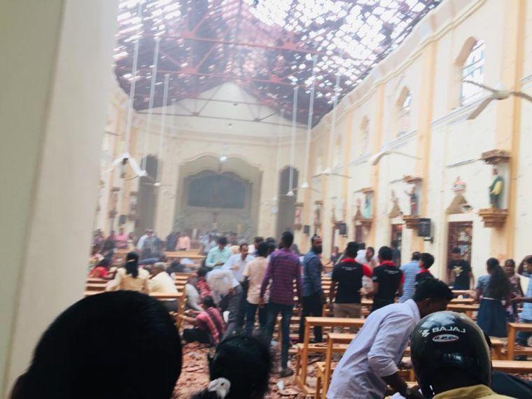 Sri Lanka's St Sebastian's Church moments after the blast