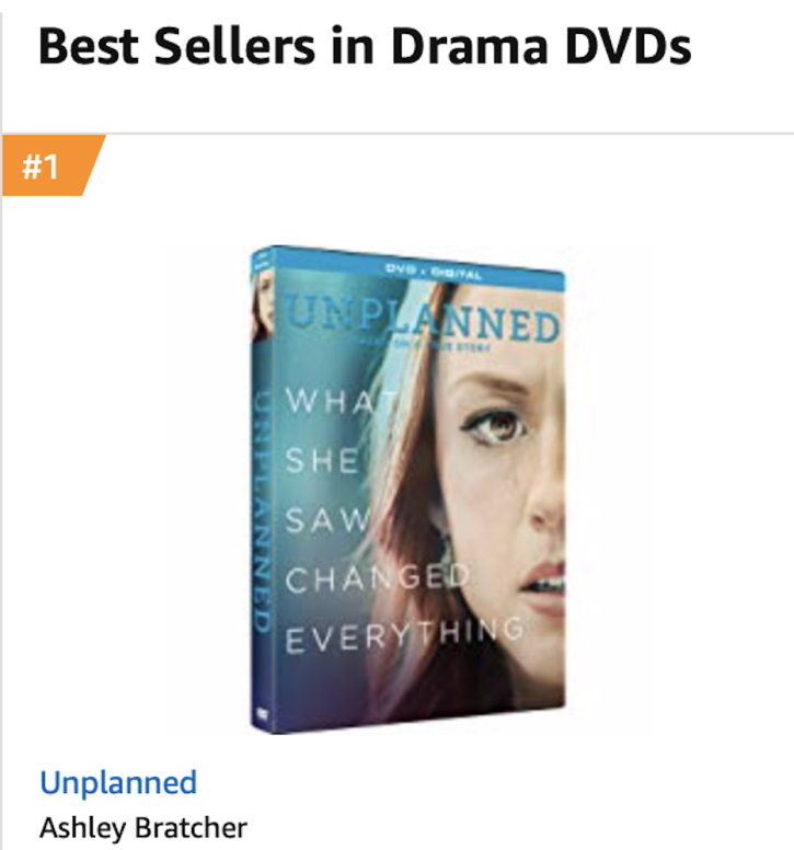 Pro-life movie 'Unplanned' takes No  1 spot on Amazon's Best Sellers