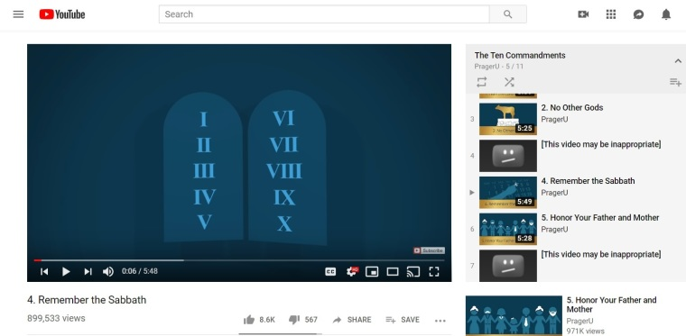 YouTube blocks PragerU Ten Commandments videos, restricts to 'mature audiences'