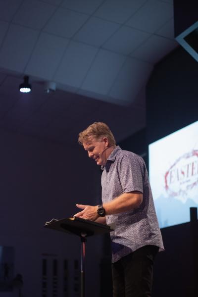 Pastor preaching.