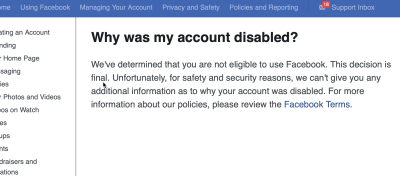 Facebook page disabled permanently