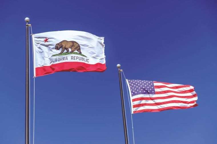 California and United States flags