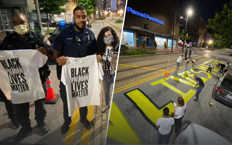 Baltimore Police Allow Pro-Life Activists to Paint 'Black Preborn Lives Matter' on Street Outside of Planned Parenthood
