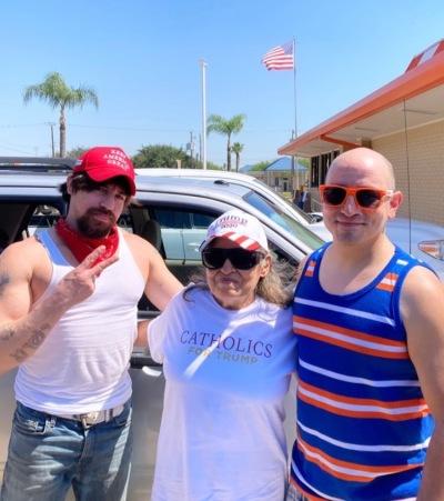 Three Catholic Trump supporters pose in Edinburg, Texas