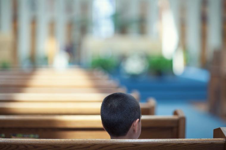 boy, pews, church, child