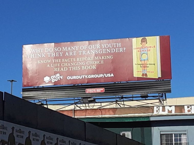 Parents Erect Third Billboard in Los Angeles Warning Against Transgender Medicalization of Children