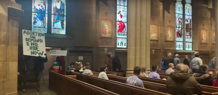 Pro-abortion protesters at Columbus cathedral