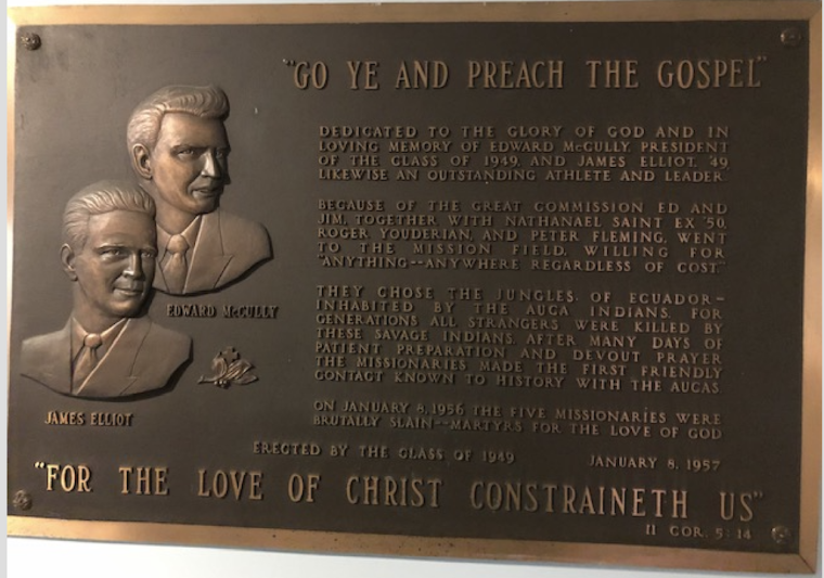 Wheaton College Plaque Honoring Jim Elliot and Martyrs