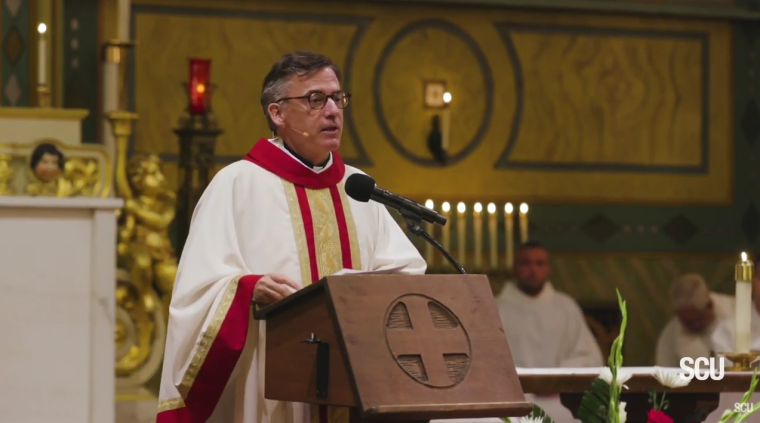Santa Clara University President Father Kevin O'Brien speaks during an event honoring St. Ignatius of Loyola, the Society of Jesus's founder, on July 31, 2019. | YouTube/Santa Clara University