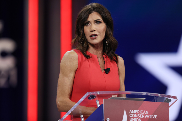 South Dakota Gov. Kristi Noem addresses the Conservative Political Action Conference held in the Hyatt Regency on February 27, 2021, in Orlando, Florida. Begun in 1974, CPAC brings together conservative organizations, activists, and world leaders to discuss issues important to them. | Joe Raedle/Getty Images