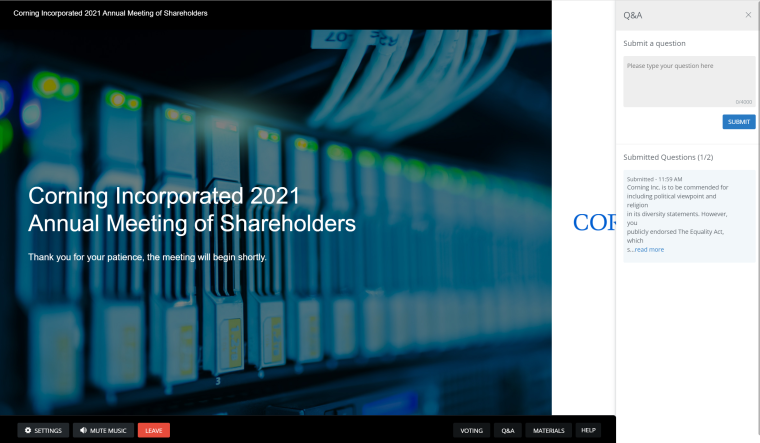 Corning Incorporated annual meeting Q&A screenshot