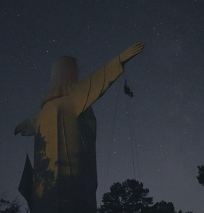 Christ of the Ozarks Defaced with Pro-Abortion Banner