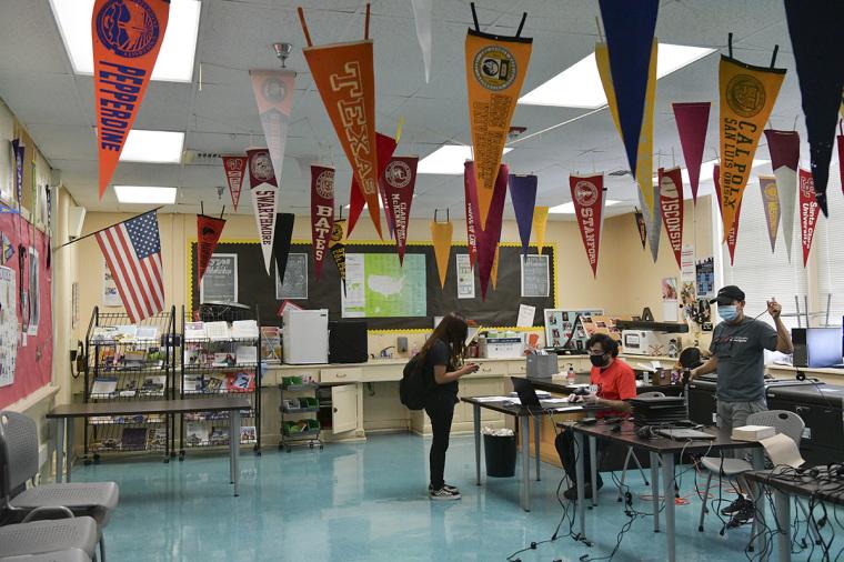 High school, classroom, California
