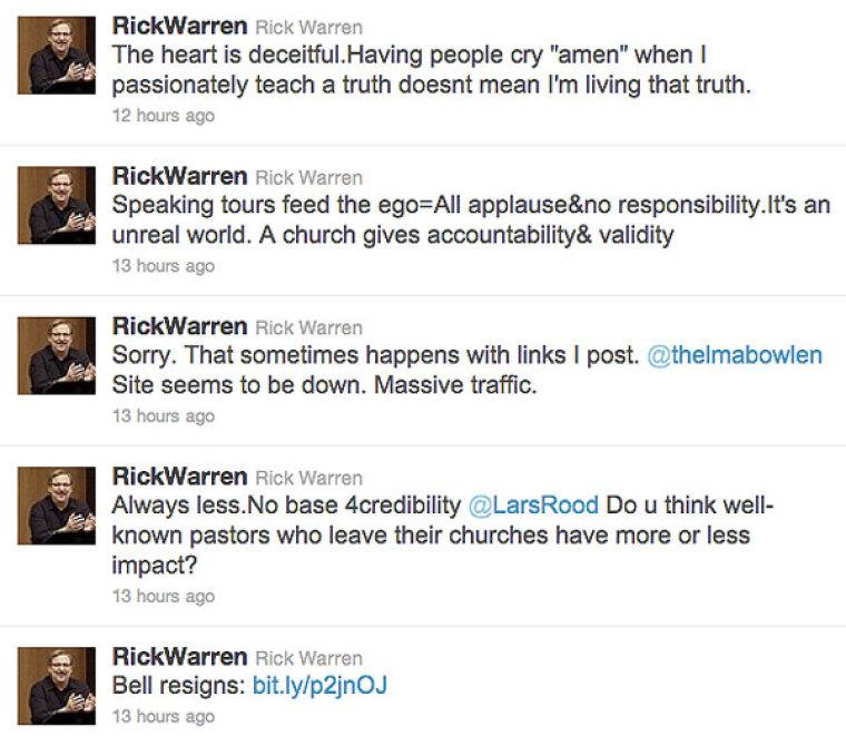 CORRECT Rick Warren Twitter on Rob Bell