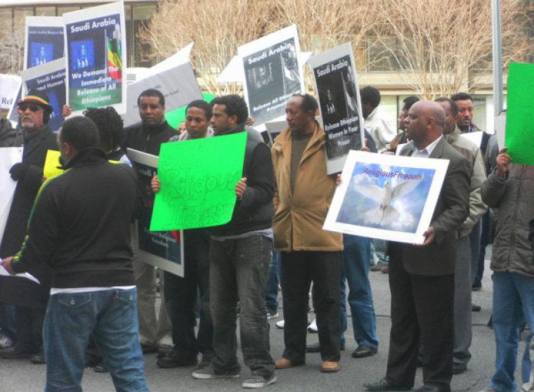 Protest in front of Saudi Arabian Embassy in Washington DC
