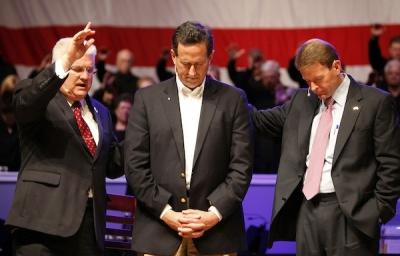 Rick Santorum, Rev. Dennis Terry and Tony Perkins at Greenwell Baptist Church