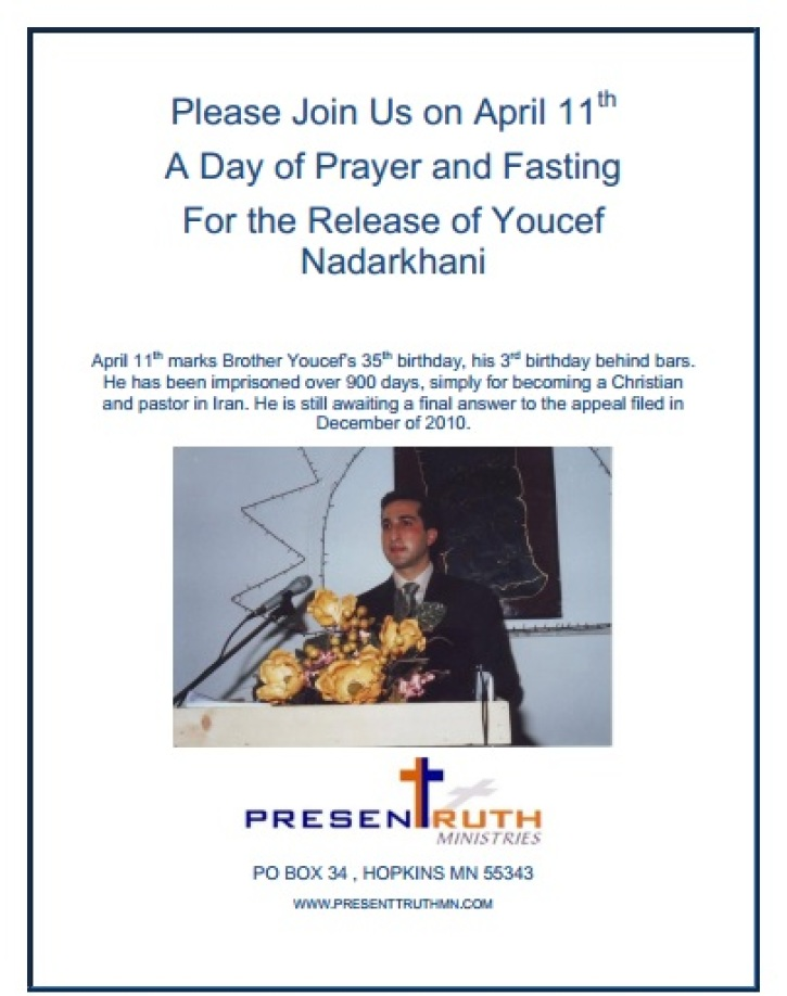 Fasting, Prayer Vigil to Be Held for Youcef Nadarkhani's