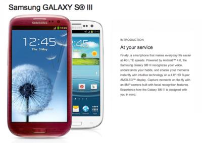 Red Samsung Galaxy S3